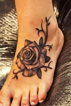 Rose Tattoo Design For Women Legs