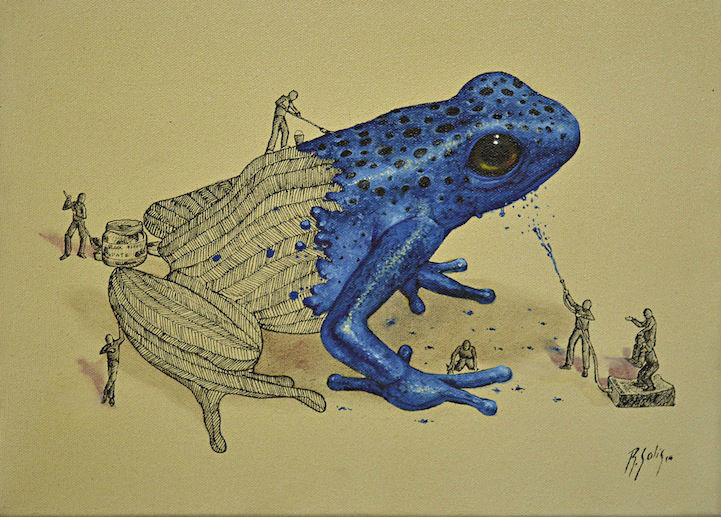 Playful Illustrations of Little Men Coloring Animals