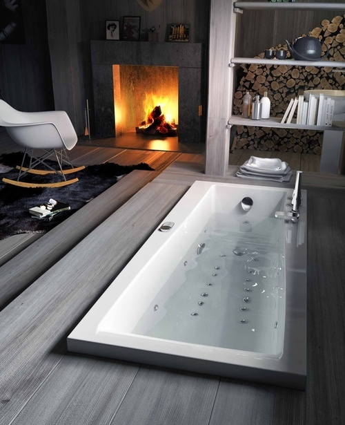 30 Awesome Bathroom Fireplace Designs
