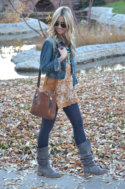 38 Stylish Fall Outfits with Boots and Tights