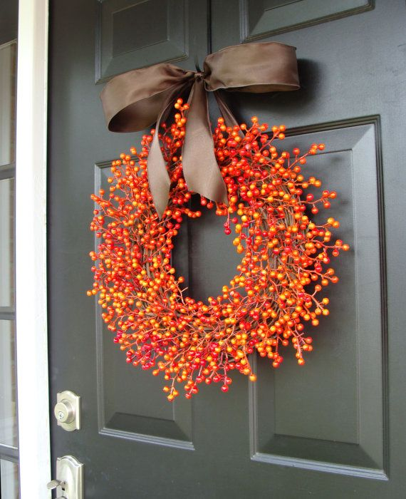 51 Amazing Door Wreath Design Ideas for Thanksgiving