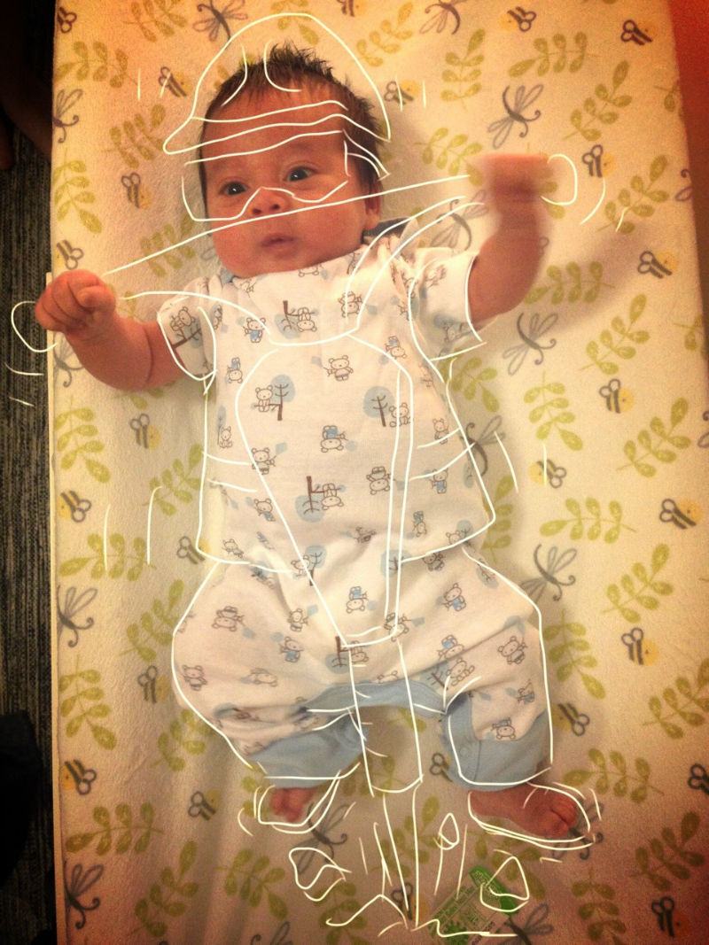 Dad Creates Funny Stories by Sketching on His Babys Photos