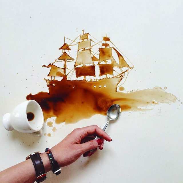 Coffee Stains as Art by Giulia Bernardelli