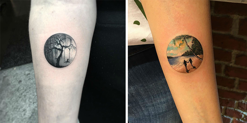 20 Miniature and Modern Circle Tattoos by Eva Krbdk