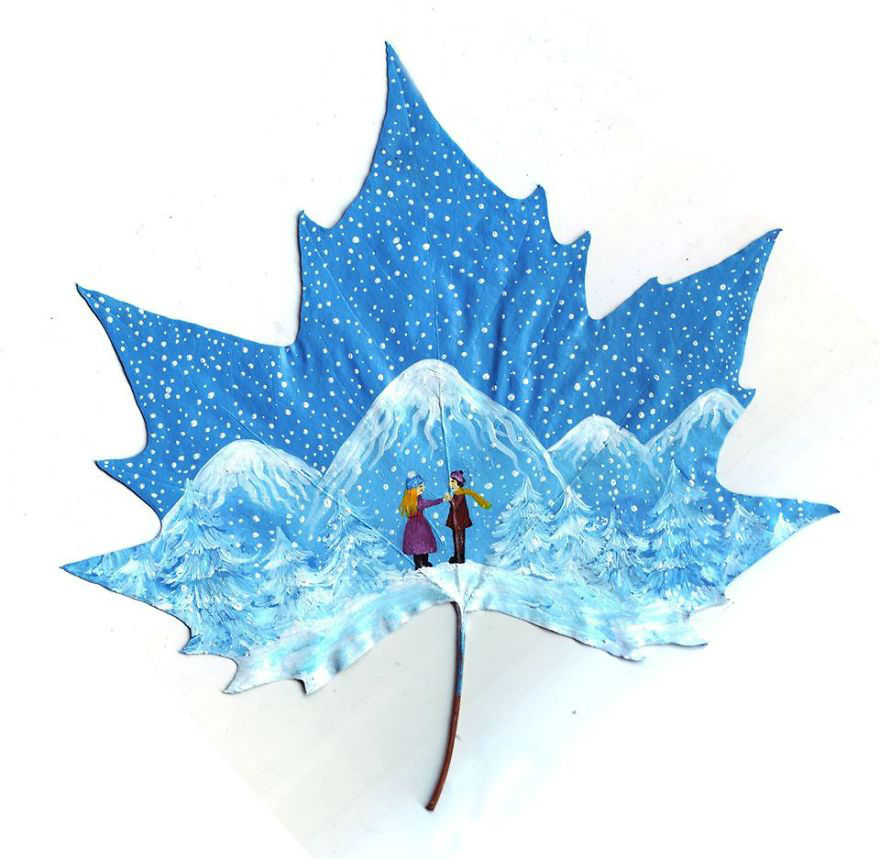 Couple Creates Surreal and Majestic Art on Fallen Leaves