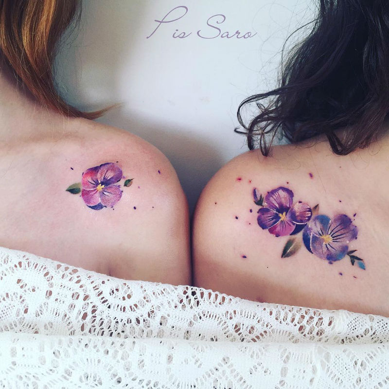Delicate Nature Watercolor Tattoos by Pis Saro