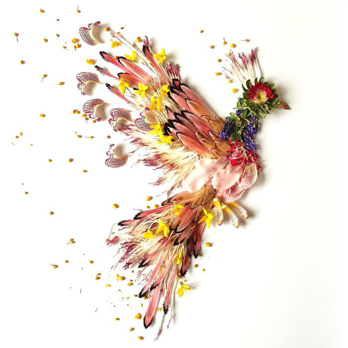 Artist Uses Flowers for Paintings