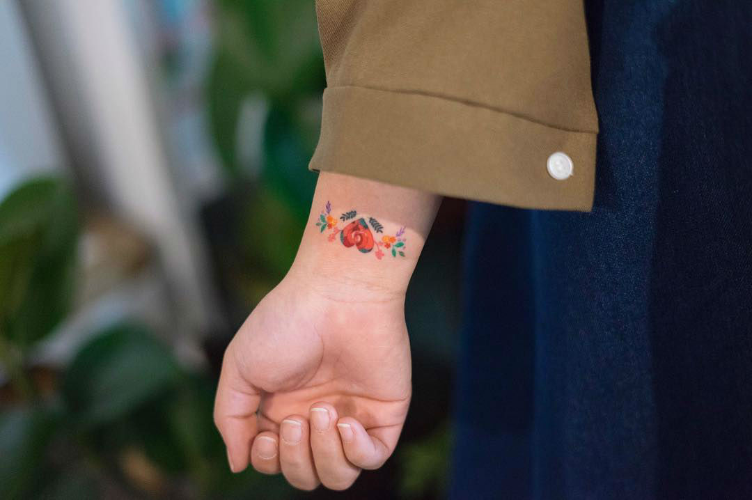 Vibrant and Cute Color Tattoos by Zihee