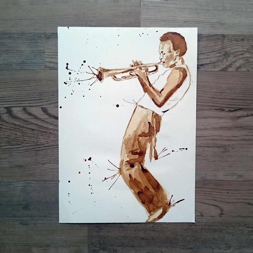 Coffee Paintings of Legendary Musicians by Dana