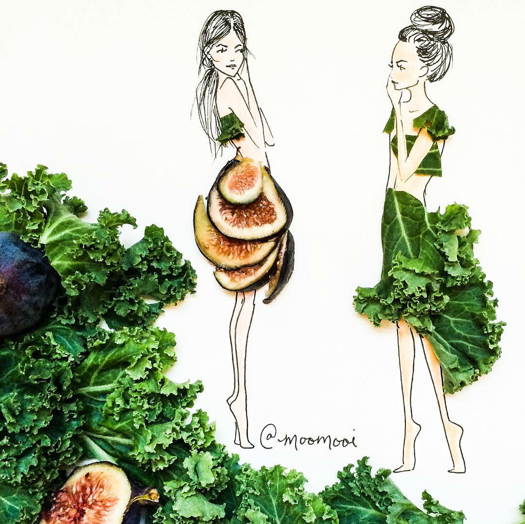 Fashion Illustrations with Flowers and Veggies