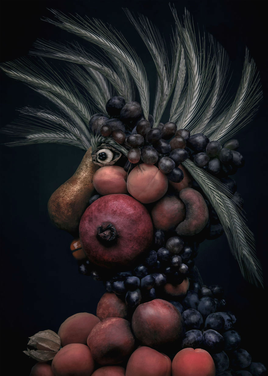 Realistic Portraits Made with Fruits and Vegetables