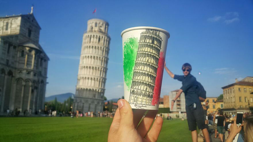 Traveling Artist Uses Paper Coffee Cups as Canvas Immortalizing His Adventures