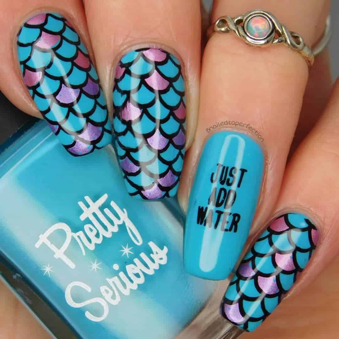 20 Superb Mermaid Nail Art Design Ideas