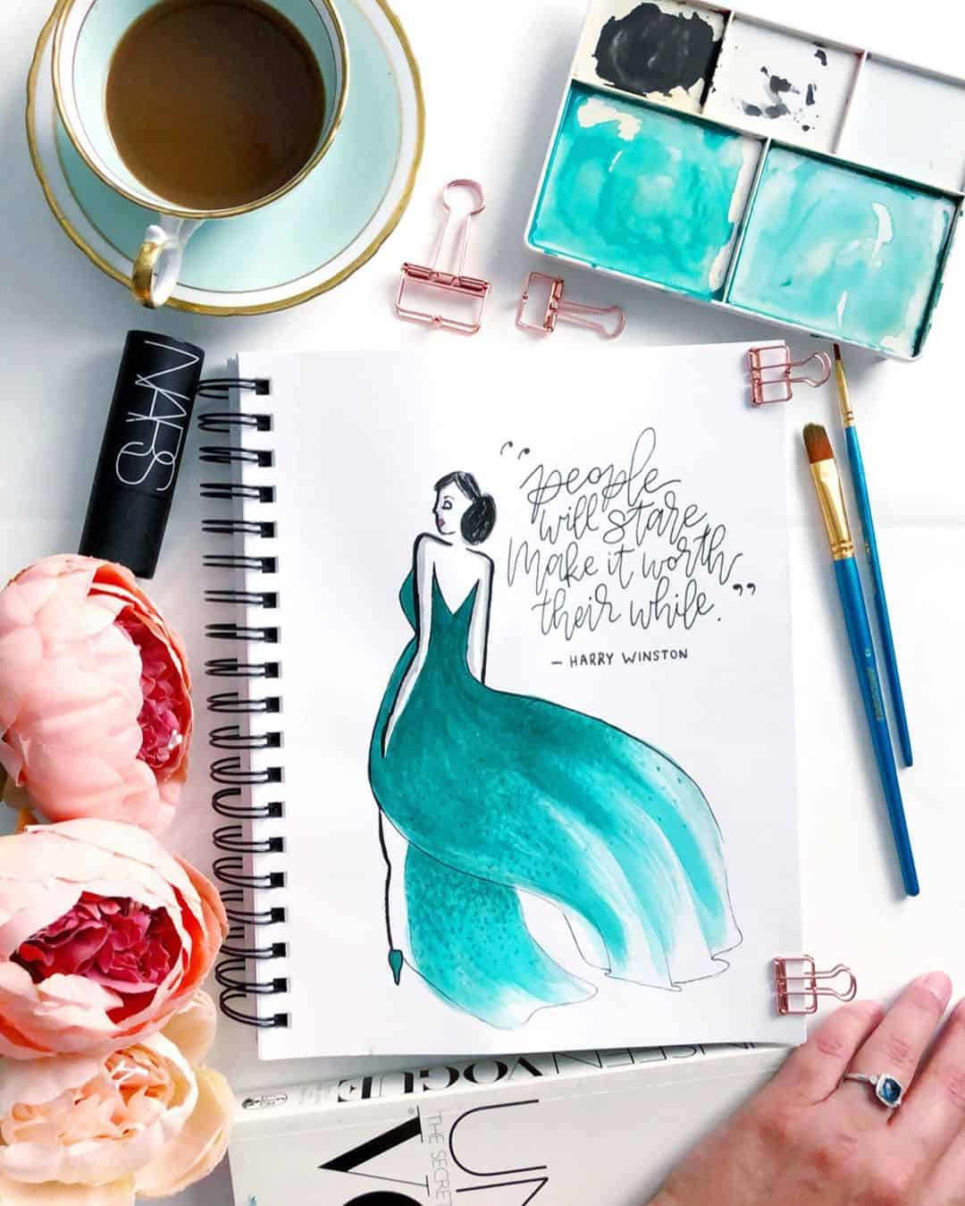 Artist Crowns Her Watercolor Illustrations with Hand Lettering
