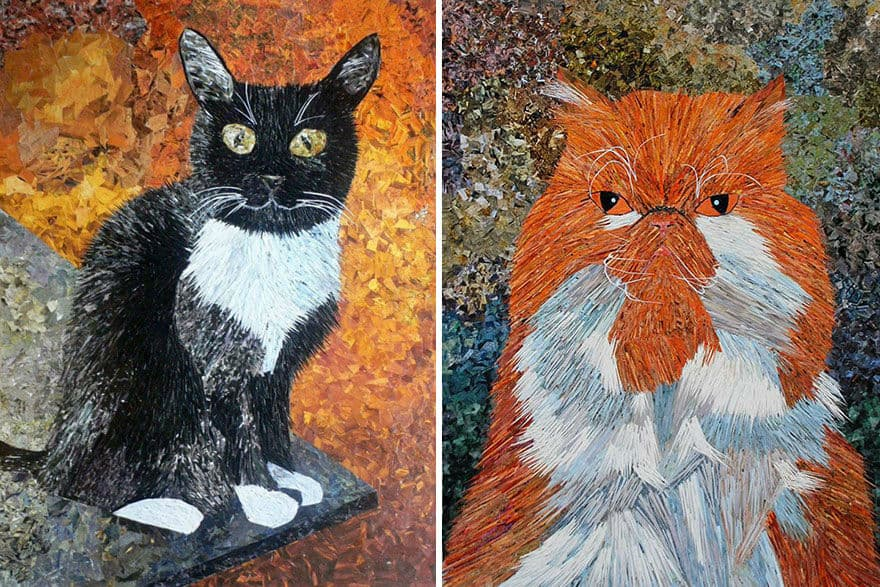 Artist Uses Paper and Glue Only to Create an Effect of Oil Paintings