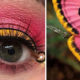 Side-by-Side Comparison of Colorful Eye Makeup Designs and Bugs that Inspired Them