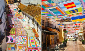 Teacher and Her Students Crochet Colorful Canopy to Fight off Heat in Malaga, Spain